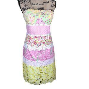 Lilly Pulitzer Multi Print Strapless Dress 8
